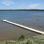 4' x 80' cedar dock with 8' x 8'